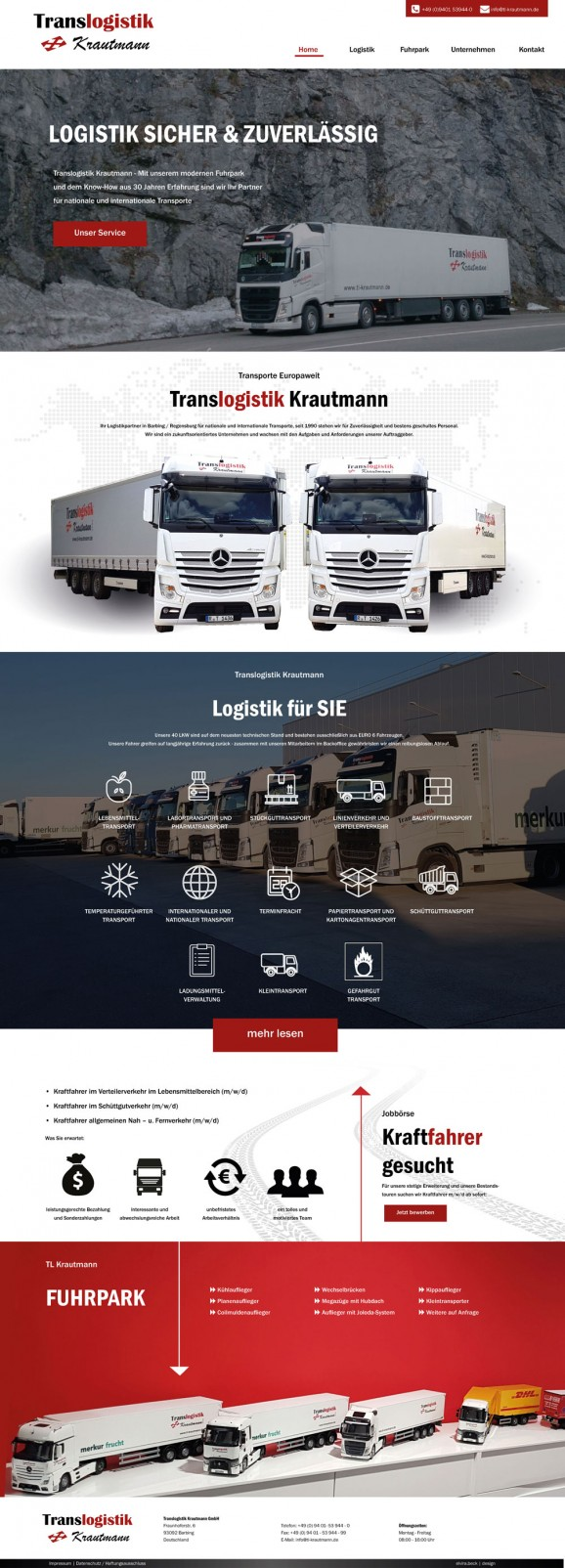 Re-Design Webseite Logistikunternehmen